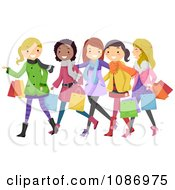 Clipart Teen Girls Having Fun Christmas Shopping Royalty Free Vector Illustration