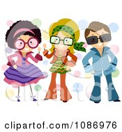 Clipart Kids Dressed Up In Retro Outfits Royalty Free Vector Illustration