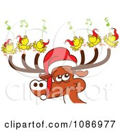 Clipart Christmas Reindeer With Caroling Birds And A Santa Hat Royalty Free Vector Illustration