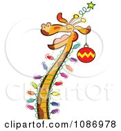 Clipart Happy Giraffe Decorated With Chrismtas Lights And An Ornament Royalty Free Vector Illustration by Zooco