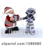 Clipart 3d Santa Giving A Christmas Gift To A Robot Royalty Free CGI Illustration