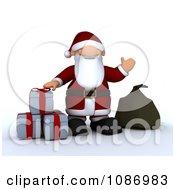 Clipart 3d Santa Waving By Christmas Gifts Royalty Free CGI Illustration