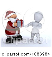 Clipart 3d Santa Giving A Christmas Gift To A White Character Royalty Free CGI Illustration