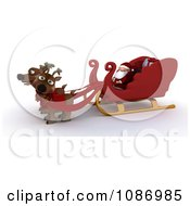 Clipart 3d Santa Sitting In His Sleigh With Two Reindeer Royalty Free CGI Illustration by KJ Pargeter
