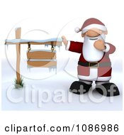 Clipart 3d Santa Presenting An Iced Wooden Sign Royalty Free CGI Illustration by KJ Pargeter