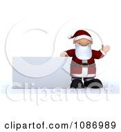 3d Santa Presenting A Rectangular Sign