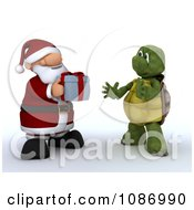 3d Santa Giving A Gift To A Tortoise