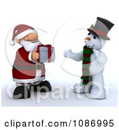 Clipart 3d Santa Giving A Christmas Gift To A Snowman Royalty Free CGI Illustration by KJ Pargeter
