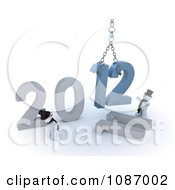 Clipart 3d Snowmen Guiding A Hoist With 2012 New Year Royalty Free CGI Illustration