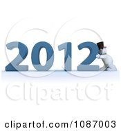 Clipart 3d Snowman Pushing 2012 New Year Together Royalty Free CGI Illustration