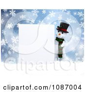Clipart 3d Snowman Presenting A Blank Sign In The Snow Royalty Free CGI Illustration