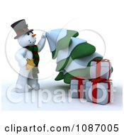 Clipart 3d Snowman Pulling Down A Christmas Tree To Apply The Star Royalty Free CGI Illustration