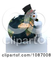 Clipart 3d Snowman Hugging A Globe Featuring Africa Royalty Free CGI Illustration