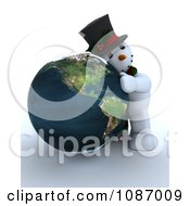 Clipart 3d Snowman Hugging A Globe Featuring America Royalty Free CGI Illustration