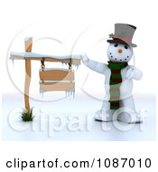 Clipart 3d Snowman Presenting A Wooden Sign Royalty Free CGI Illustration by KJ Pargeter