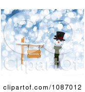 Clipart 3d Snowman With A Wooden Sign In The Snow Royalty Free CGI Illustration