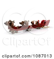 Clipart 3d Christmas Santa Sleigh With Reindeer And Gifts Royalty Free CGI Illustration