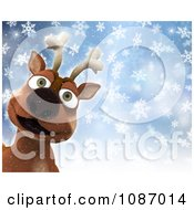 3d Happy Reindeer In The Snow With Copyspace