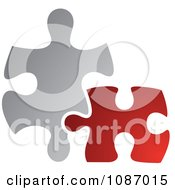 Clipart Red And Gray Jigsaw Puzzle Pieces Royalty Free Vector Illustration