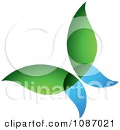Clipart Blue And Green Ecology Butterfly Royalty Free Vector Illustration by TA Images #COLLC1087021-0125