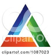 Clipart 3d Blue Green And Orange Triangle Royalty Free Vector Illustration