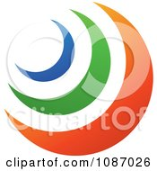 Clipart Blue Green And Orange Crescent Moons Royalty Free Vector Illustration