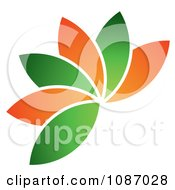 Clipart Fanned Orange And Green Leaves Or Petals Royalty Free Vector Illustration