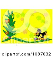 Clipart Yellow Tropical Toucan And Plant Background Royalty Free Vector Illustration by bpearth