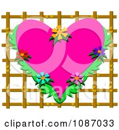 Tropical Floral Heart On Lattice