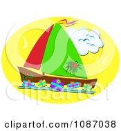 Christmas Sailboat With Gifts Floating On The Water