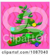 Scribble Christmas Tree With Flowers And Ornaments On Pink