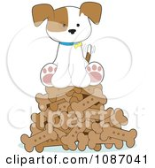 Clipart Happy Puppy Sitting On A Pile Of Dog Bones Royalty Free Vector Illustration