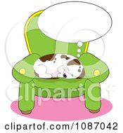 Clipart Comfortable Puppy Sleeping And Dreaming On A Chair Royalty Free Vector Illustration