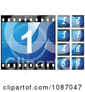 Clipart Blue Numbered Film Cells Royalty Free Vector Illustration by michaeltravers