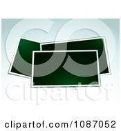 Clipart Blank Instant Photographs On Gradient Blue Royalty Free Vector Illustration
