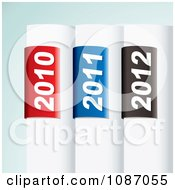 Clipart 3d White Tabs With 2010 2011 And 2012 Year Labels Royalty Free Vector Illustration by michaeltravers
