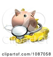 Clipart 3d Investment Piggy Bank With A Stethoscope And Coins Royalty Free Vector Illustration by AtStockIllustration