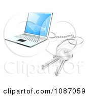 Clipart 3d Key Ring Attached To A Laptop Computer Royalty Free Vector Illustration