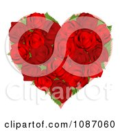 Clipart 3d Red Rose Heart Royalty Free Vector Illustration by AtStockIllustration