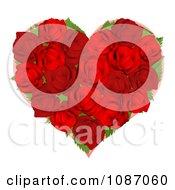 Clipart 3d Red Rose Heart Royalty Free Vector Illustration by AtStockIllustration