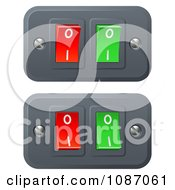Clipart 3d Red And Green On And Off Switch Buttons Royalty Free Vector Illustration
