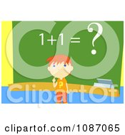 Clipart School Boy Trying To Solve A Problem By A Chalk Board Royalty Free Vector Illustration by mayawizard101