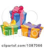 Clipart Three Birthday Or Christmas Gift Boxes Royalty Free Vector Illustration by yayayoyo