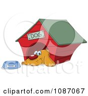 Clipart Happy Dog By His Bowl In His House Royalty Free Vector Illustration
