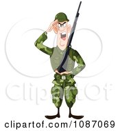 Clipart Saluting Army Soldier Holding A Gun Royalty Free Vector Illustration