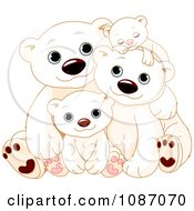 Happy Polar Bear Family Cuddling