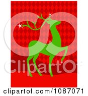 Green Christmas Reindeer Over Red Argyle And Trees