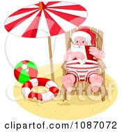 Clipart Santa Under A Parasol On A Beach Royalty Free Vector Illustration