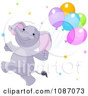 Clipart Happy Purple Elephant Running With Balloons And Stars Royalty Free Vector Illustration