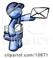 Blue Mail Man Delivering A Letter Clipart Illustration by Leo Blanchette